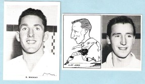 Dave Mackay and Cliff Jones photos and cartoons (1961)