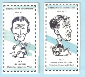 Sweetule International Footballers Cards featuring Blanchflower & Hopkins (1962)
