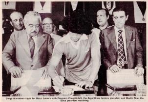 Diego Maradona signs for Boca Juniors, 1981