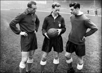 Tom discusses England tactics with Stanley Mathews and Johnny Haynes