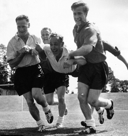 High jinks in the England camp with Billy Wright and Bobby Charlton