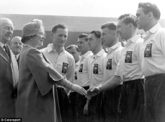 Tom meets the Queen Mother at Wembley before the 1954 FA Cup Final