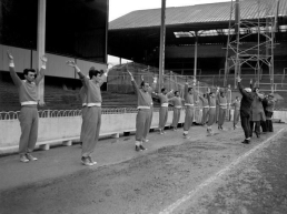 Benfica players warm up before EC game v Spurs 1962