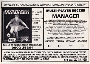 Multi Player Soccer Manager 1990