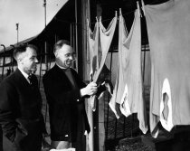 Bob Shankly, Third Lanark football manager, hanging out jerseys to dry with brother Bill Shankly at Cathkin Park, Glasgow. May 1958