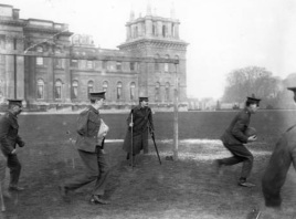 Wounded soldiers play outside Blenheim Palace, 1916