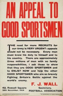 WW1 footballer recruitment appeal, 1914