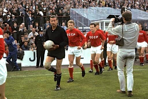 Lev Yashin leads out Soviet Union at Goodison Park for 1966 World Cup semi v West Germany