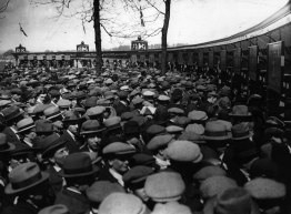 Fans queue at the turnstiles to gain admission to Wembley