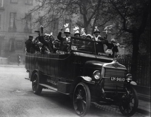 Fans travelling to the 1923 FA Cup Final.