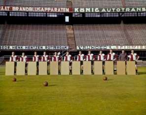 Feyenoord with pieces of cardboard where female portraits will be attached