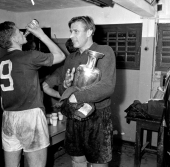Lev Yashin with the 1960 European Championship trophy