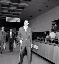 Lev Yashin arriving in London for the 1966 World Cup.