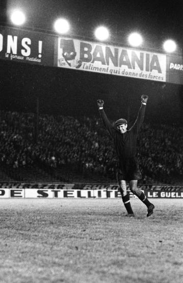 Lev Yashin celebrating USSR win over Yugoslavia in the first European Championships. 1960