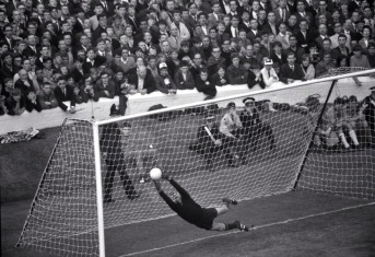 Lev Yashin makes a save in the 1966 World Cup semi between Russia & West Germany