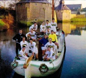 NAC Breda players on a peat boat referencing the 1590 War with Spain