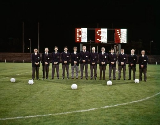 PSV Eindhoven in front of their new electronic scoreboard