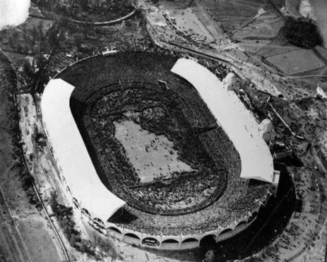 An aerial view shows the vast crowd inside the stadium