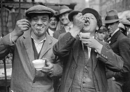 West Ham Utd fans enjoying some food before the 1923 FA Cup Final v Bolton Wanderers