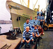 Xerxes in Rotterdam port next to the Prinses Magriet ship, 1964