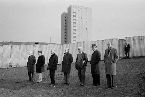 Halifax Town FC. Seven men in a line, 1975 (Martin Parr)