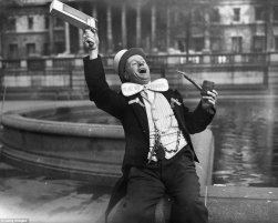 1938 - A lively Preston supporter in Trafalgar Square