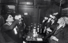 1948 - Blackpool supporters drinking on the train to Wembley for the Final v Manchester United