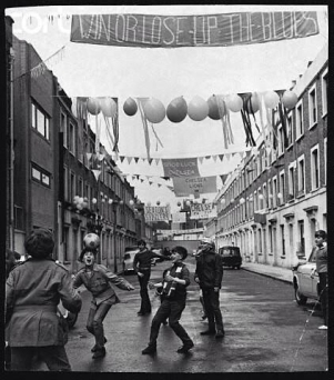 1970 - boys play in a Chelsea supporting street before the FA Cup Final v Leeds
