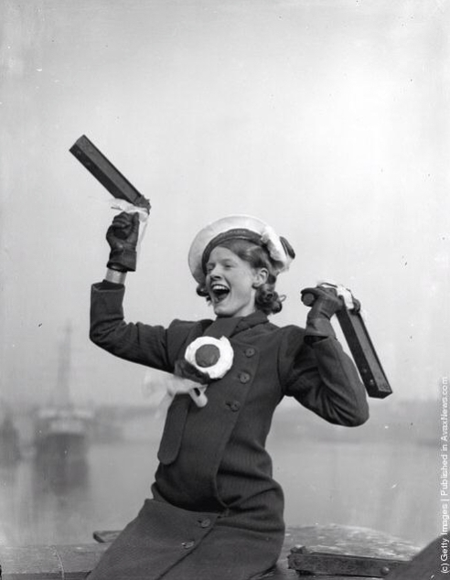 1934 - A Portsmouth fan gets in the mood before her team's Final v Manchester City