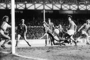 Graeme Sharp clips home Everton's first goal past Bayern Munich goalkeeper Jean Marie Pfaff in 1985