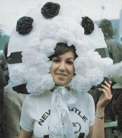 1974 - Newcastle Utd fan wearing elaborate headgear!