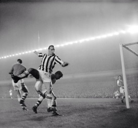 John Charles in action during a Juventus friendly with Arsenal