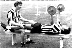 Boniek & Platini training, 1983