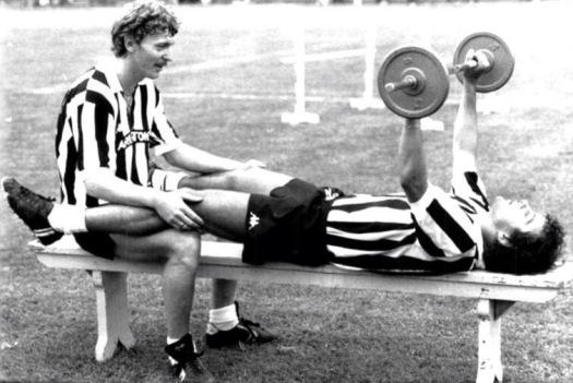 Boniek & Platini training, 1983