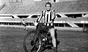 Giampiero Boniperti on his motorbike, 1957