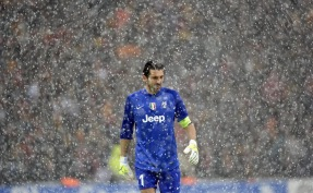 Gianluigi Buffon in the snow
