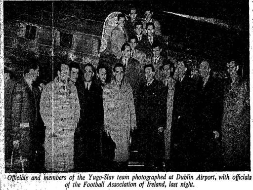 Yugoslav party arrives at Dublin Airport
