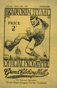 Bradford City v Sunderland, programme 1921-22