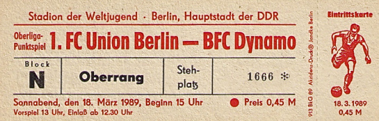 Union Berlin v BFC Dynamo ticket