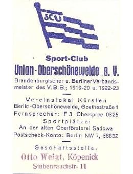 Union Oberschöneweide 1922-23