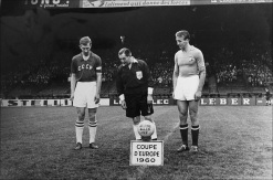 Soviet Union & Yugoslav captains Neto and Kostic before start of 1960 European Nations Final