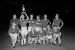 The Soviet Union celebrate their 2-1 win over Yugoslavia to win the 1960 European Nations Final