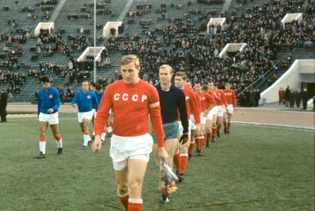 Albert Shesternev leads out the Soviets before a 1966 international v Turkey