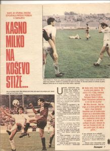 Newspaper article about the NK Sarajevo v Red Star game