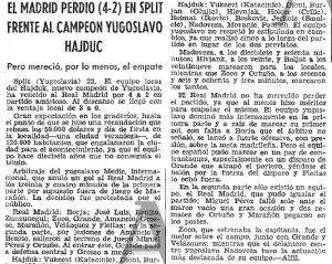 Hajduk Split v Real Madrid, 1971 Spanish match report