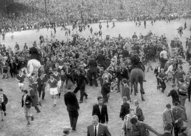 Third Lanark v Rangers pitch invasion 1950s