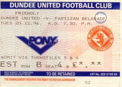 Dundee Utd v Partizan match ticket, December 1994