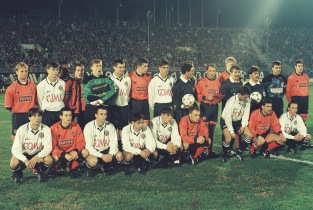 Partizan & Dundee United players line up together