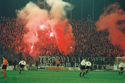 Packed terraces at the Partizan Stadion